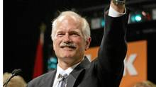 Federal NDP Leader Jack Layton waves to the crowd after Layton's victory in the federal election in Toronto on Monday, June 28, 2004. (ANDREW VAUGHAN/CP/ANDREW VAUGHAN/CP)