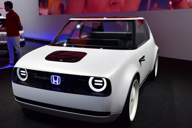 A Honda Urban EV concept car is presented at the Frankfurt Auto Show IAA in Frankfurt am Main, Germany, on September 13, 2017.