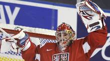 Czech Republic's goalie Petr Mrazek (R) and Petr Holik celebrate their win against Team USA following play at the 2012 IIHF U20 World Junior Hockey Championship in Edmonton, Alberta, December 30, 2011. REUTERS/Dan Riedlhuber (Dan Riedlhuber/Reuters)