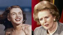 Composite photo of Marilyn Monroe in 1946, left, and Margaret Thatcher in 1988. (Monroe photo from Associated Press)
