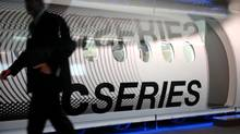 The C Series, which will seat from 100 to 160 passengers, is scheduled to make its first flight by the end of June, while analysts expect Bombardier to announce new sales for the plane at the Paris show, which begins officially on Monday. (John Morstad for The Globe and Mail)