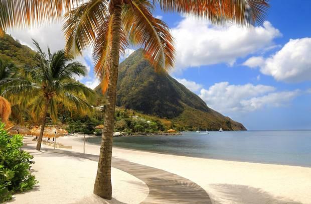 Sugar beach in Saint Lucia, Caribbean Islands.