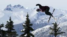 Shannon Gunning launches off a jump while training this week at Whistler-Blackcomb in British Columbia. (BEN NELMS/The Globe and Mail)