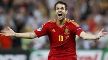 Spain's Cesc Fabregas celebrates (Associated Press)