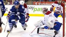 Montreal Canadiens goalie Carey Price (R) makes a save on Toronto Maple Leafs' Joey Crabb in the second period of their NHL hockey game in Toronto January 21, 2012. (FRED THORNHILL/REUTERS)