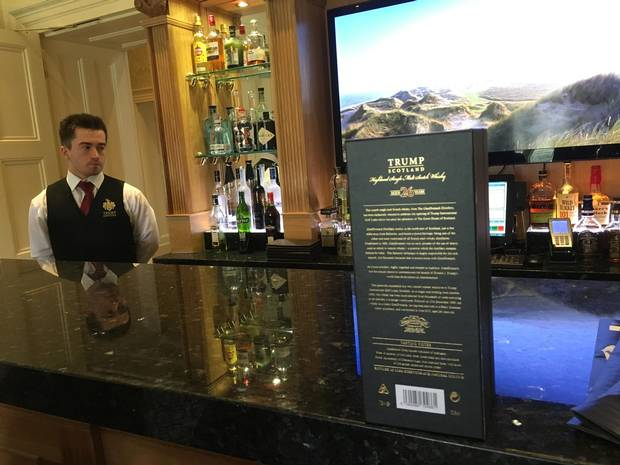 Trump-brand single-malt Scotch whiskey is served at the bar in MacLeod House, a 17th century mansion Mr. Trump renamed after his mother and converted into a hotel.