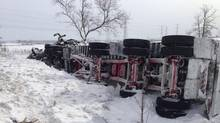 A photo posted to Twitter of the pileup on Highway 401 near Napanee, Jan. 29, 2014. (@YGKTraffic/Twitter)