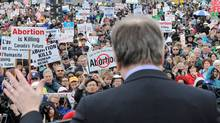 Ontario Conservative MP Stephen Woodworth delivers a speech at the anti-abortion March For Life rally in Ottawa on May 10, 2012. (Sean Kilpatrick/Sean Kilpatrick/The Canadian Press)