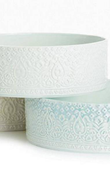 Each of these one-of-a-kind serving pieces from Kosoy + Bouchard is crafted in Toronto and made from porcelain hand-stamped with antique Indian woodblocks. Their delicate lacy motifs bring intricate texture to even the most minimalist tablescape. Cylinder Bowls, $160 and $220 at Kosoy + Bouchard (www.kosoyandbouchard).