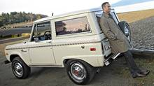 Global BC Anchor Chris Gailus with his vintage Ford Bronco. (Simon Hayter/Simon Hayter for The Globe and Mail)