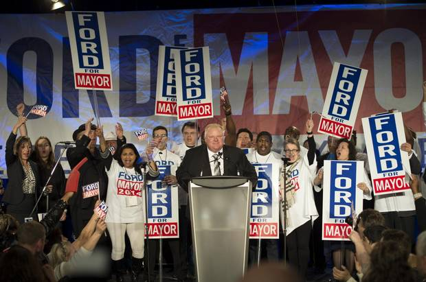 Rob Ford address the crowd of supporters at his mayoral campaign kick-off at the Toronto Congress Centre in 2014.