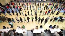 Voters wait in line at the Bobby Miller Activity Center in Tuscaloosa, Ala., Tuesday, Nov. 6, 2012. (Dusty Compton/AP)