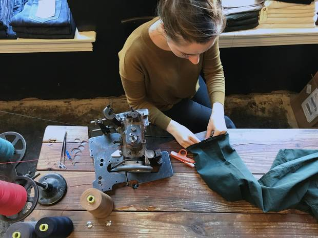 Jeans are hand-cut and hand-sewn at Raleigh Denim.