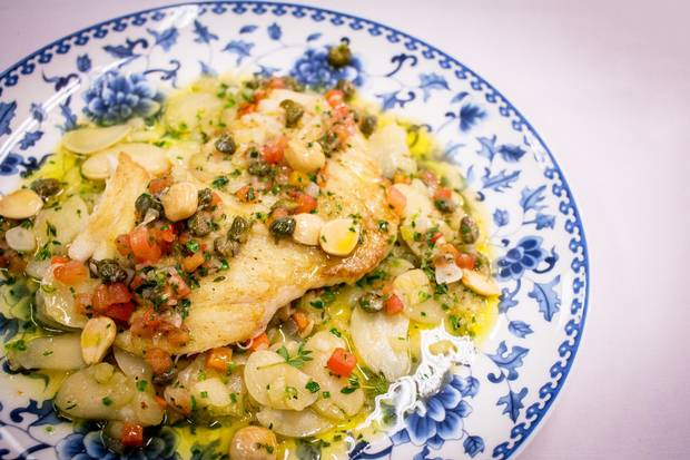 Skate wing with Marcona almonds and lemon caper brown butter.