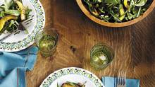 Fresh dandelion greens with roasted squash and cracked hazelnuts; food styling by Heather Shaw; prop styling by Oksana Slavutych. (Maya Visnyei for The Globe and Mail)