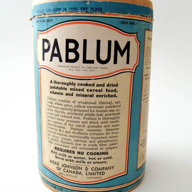 A tin of pablum.
