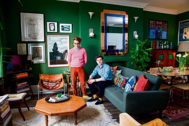 Luke Edward Hall, left, and Duncan Campbell in their north London flat, February 7, 2016.
