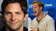 Two different photographs are juxtaposed to give the uncorroborated impression Ryan Gosling (right) is aghast at People magazine's selection of Bradley Cooper (left) as the Sexiest Man Alive. (Geyy Images/Reuters)