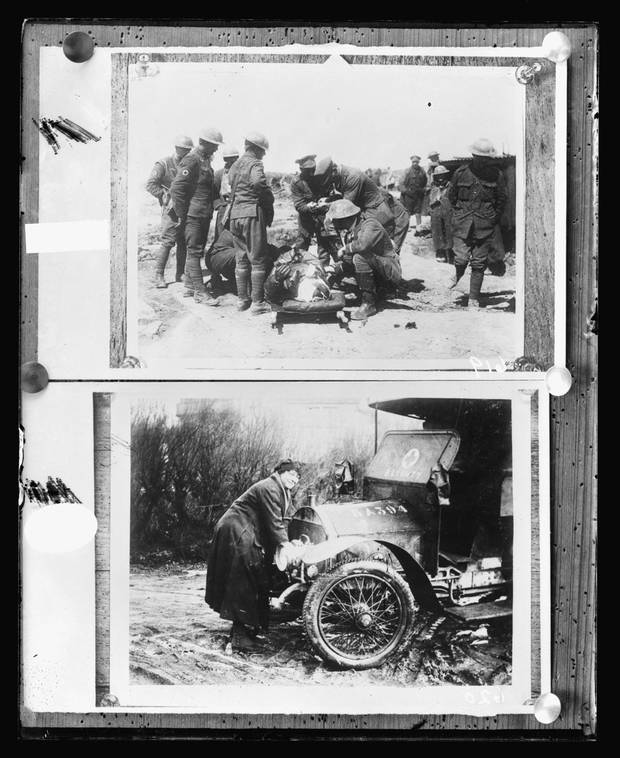 Above: Red Cross workers at Vimy Ridge render first aid to an airman brought down within his own lines. Below: A driver of the first aid nursing yeomanry cranks up the engine of her ambulance in November, 1917.