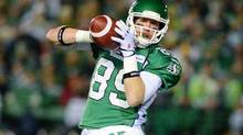 Saskatchewan Roughriders slotback Chris Getzlaf catches a pass (Liam Richards/The Canadian Press)