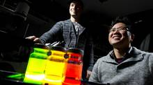 Warren Chan, right, and Kyryl Zagorovsky in their research lab in the University of Toronto. (Peter Power/The Globe and Mail)