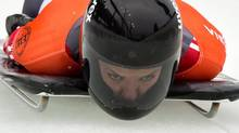 Second-place finisher Sarah Reid, of Calgary, Alta., competes during the women's World Cup skeleton event in Whistler, B.C., on Friday November 23, 2012. (DARRYL DYCK/THE CANADIAN PRESS)