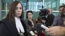 Kristine Robidoux of Gowlings speaks to media outside a Calgary court after the Griffiths Energy penalty was set. (Chris Bolin for The Globe and Mail)