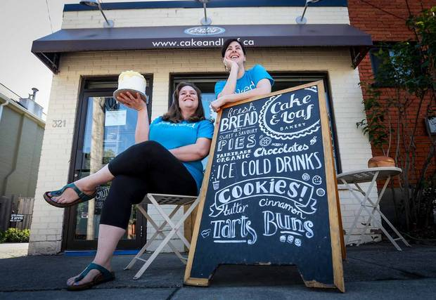 Josie Rudderham, left and Nicole Miller opened Cake and Loaf Bakery in Hamilton five years ago this August.