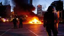 Riot officers in downtown Vancouver June 15, 2011 during the Stanley Cup riot. (John Lehmann/The Globe and Mail/John Lehmann/The Globe and Mail)