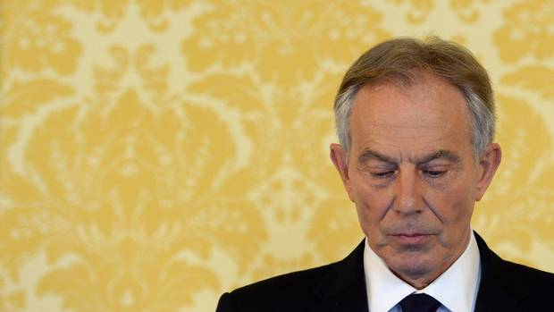 Tony Blair arrives for a press conference at London's Admiralty House on July 6.