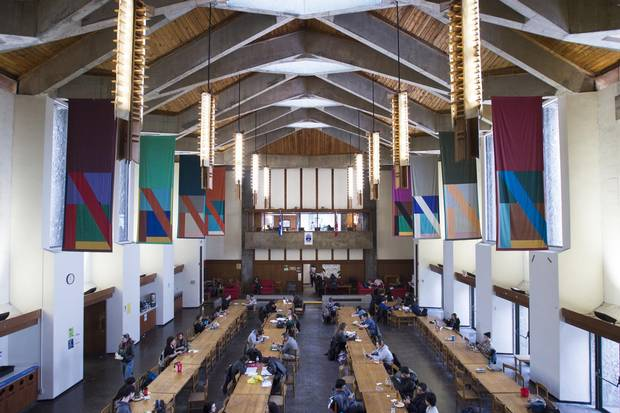 One Trent University student described the the buttresses and high ceiling of Champlain College's Great Hall as 'Hogwarts-like.' The Peterborough, Ont., college was designed by architect Ronald Thom.