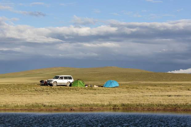 Campers set up at the Zaxiqiwa springs.