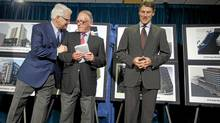 BC Premier Gordon Campbell, John McLern with Street to Home and Vancouver Mayor Gregor Robertson during an announcement regarding new supportive housing units for the homeless in Vancouver May 25, 2010. (John Lehmann/ The Globe and Mail/John Lehmann/ The Globe and Mail)