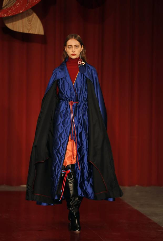A model wears a creation by designer Roksanda during their Autumn/Winter 2017 show as part of London Fashion Week in London, Monday, Feb. 20, 2017.