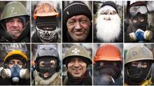 The face of protest in Kiev, January 28, 2014. Faces of the militant protesters guarding the makeshift barricades. In Kiev, protesters are covering up not only to stay warm, but also to protect their identities after parliament passed anti-protest laws a few weeks ago. The law, which bans the wearing of helmets by protesters and the blockading of public buildings is fuel continuing anti-government demonstrations. (John Lehmann/The Globe and Mail)