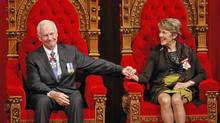 Governor-General David Johnston and his wife, Sharon, sit on the throne after he was sworn in as the 28th Governor-General in the Senate on Oct. 1, 2010. (Adrian Wyld/Adrian Wyld/The Canadian Press)