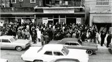 The Portuguese Book Store in Toronto's Kensington Market used to put speakers on the street so the crowds, hungry for news of their beloved soccer teams, could follow broadcasts of the games. (Courtesy of the Tomaz family)