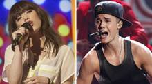 A combination image shows singers Carly Rae Jepsen and Justin Bieber.