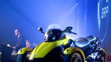Jose Boisjoli, president and chief executive officer of Bombardier Recreational Products Inc. (BRP), introduces the 2008 Can-Am Spyder roadster in Valcourt, Que., February 5, 2007. (CHRISTINNE MUSCHI/REUTERS)