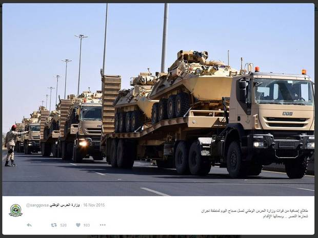 The Saudi Arabian National Guard published this photo on Twitter in November of 2015. It shows columns of combat vehicles being moved to Najran, a Saudi town near the border with Yemen.