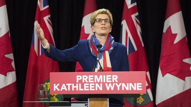 Ontario Premier Kathleen Wynne at a press conference at Queen's Park in Toronto on Monday, April 11.