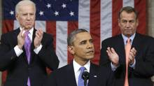 U.S. House Speaker John Boehner, right, and Vice-President Joe Biden, left, stand to applaud as President Barack Obama delivers his State of the Union speech on Capitol Hill in Washington, Feb. 12, 2013. (Charles Dharapak/Pool/REUTERS)