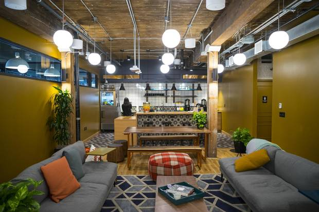 Traditional office and desk space at WeWork's 240 Richmond St. W. outlet in Toronto is complemented by a funky lounge and hip vibe, hallmarks of co-working spots.
