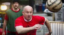 B.C. NDP leadership candidate Mike Farnworth participates in a 24-hour soccer marathon in Vancouver, April 14, 2011, to save the New Fountain homeless shelter. (JOHN LEHMANN/The Globe and Mail)