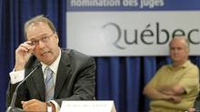 Marc Bellemare, former justice minister of Quebec, testifies at the Bastarache commission on Aug. 24. (POOL/Jacquest Boissinot/Reuters)