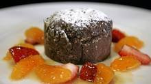 Liquid Centre Chocolate Fondant with Strawberries, Honey Tangerines and Vanilla