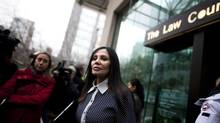 Eileen Mohan, mother of Surrey Six murder victim Christopher Mohan, walks out of the B.C. Supreme Court in Vancouver, Thursday, November 28, 2013. Quang Vinh Thang (Michael) Le, one of three suspects on trial for murder in the 2007 Surrey Six case, has pleaded guilty to conspiracy to commit murder in the death of Corey Lal. (Rafal Gerszak For The Globe and Mail)