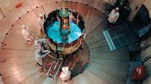 The ISEE-3 space probe undergoes tests at the Goddard Space Flight Center two years before its 1978 launch. (NASA)