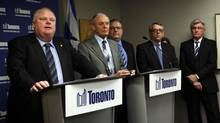 (LtoR) Mayor Rob Ford, Deputy Mayor Doug Holyday, Executive Director of Human Resources Bruce Anderson, Deputy Mayor Doug Holyday, Chief Negotiator Bob Reynolds and City Manager Joe Pennachetti during a press conference to discuss the latest information on negotiations with the CUPE 79 in Toronto, on March 29, 2012. (Deborah Baic/The Globe and Mail/Deborah Baic/The Globe and Mail)