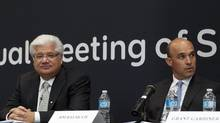 RIM co-chief executive officers Mike Lazardis, left, and Jim Balsillie are accusing a San Diego lawyer and his firm of defamation. (Chris Young/The Canadian Press/Chris Young/The Canadian Press)